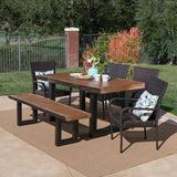 Outdoor 6 Piece Wicker Dining Set with Concrete Table and Bench - NH218303