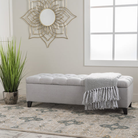 Button-Tufted Fabric Storage Ottoman Bench - NH642992