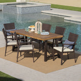 Outdoor 7 Piece Dining Set with Teak Finished Wood Table and Brown Chairs - NH742203