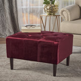 Modern Glam Button Tufted Diamond Stitch Velvet Ottoman With Tapered Legs - NH391203