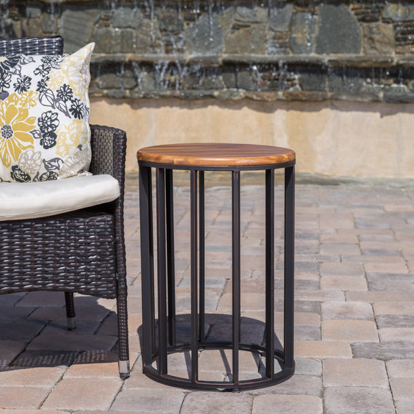 "Outdoor Natural Finished Acacia Wood 15"" Accent Table - NH431103"