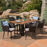 Outdoor 7 Piece Wicker Dining Set with Concrete Dining Table - NH111403