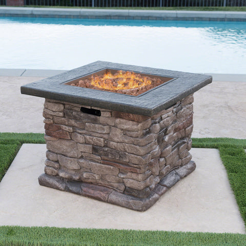 Outdoor Natural Stone Finished Propane Fire Pit -- 40,000 BTU - NH936303