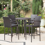 Outdoor 5 Piece Multi-brown Wicker Round Bar Table Set - NH703203