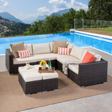 Outdoor 5 Seat Wicker Sectional Sofa Set with Aluminum Frame - NH623403