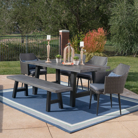 Outdoor 6 Piece Wicker Dining Set with Concrete Table and Bench - NH897303