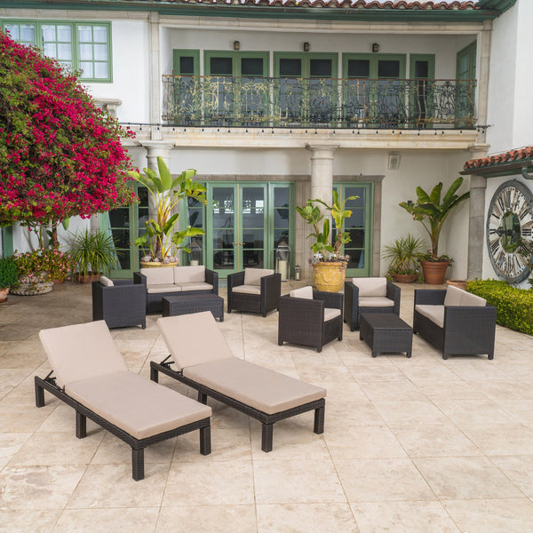 Outdoor 10 Piece Wicker Patio Set w/ Water Resistant Cushions - NH664003