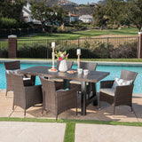 Outdoor 7 Piece Wicker Dining Set with Light Weight Concrete Dining Table - NH829303
