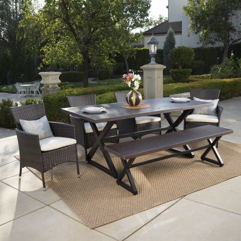 Outdoor 6 Piece Aluminum Dining Set with Bench and Wicker Dining Chairs - NH615203