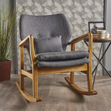 Mid Century Modern Dark Slate Fabric Rocking Chair - NH632203