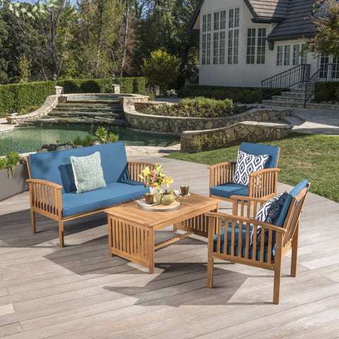 Outdoor Acacia Wood Sofa Set with Water Resistant Cushions - NH282203