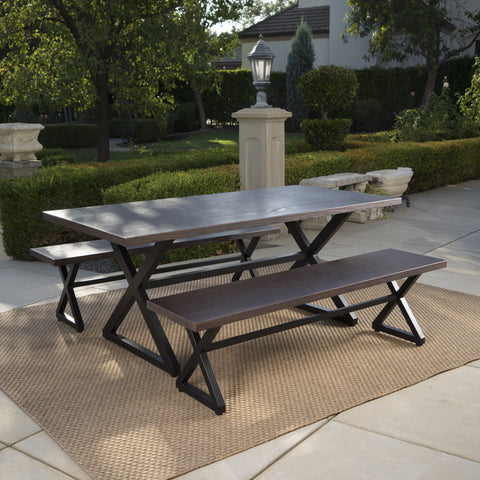 Outdoor 3 Piece Aluminum Picnic Set with Black Steel Frame - NH384203
