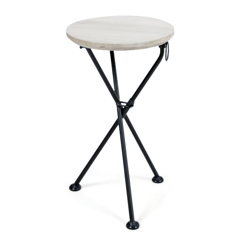 Portable Foldable Light Gray Finished Acacia Wood Side Table - NH326303