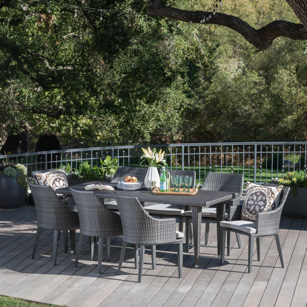 Outdoor 9 Piece Wicker Rectangular Dining Set with Water Resistant Cushions - NH764203