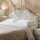 Studded Edge Ivory Fabric Queen/Full Headboard - NH919893