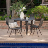 Outdoor 5 Piece Multi-brown Wicker 35 Inch Square Dining Set - NH869103