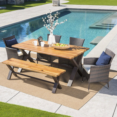 Outdoor 6 Piece Acacia Wood Dining Set with Wicker Dining Chairs - NH397203