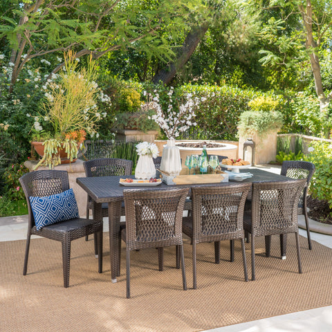 Outdoor 9 Piece Multi-brown Wicker Dining Set - NH435103