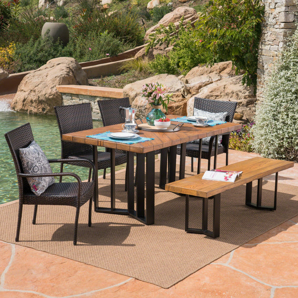 Outdoor 6 Piece Wicker Dining Set with Concrete Dining Table and Bench - NH121403