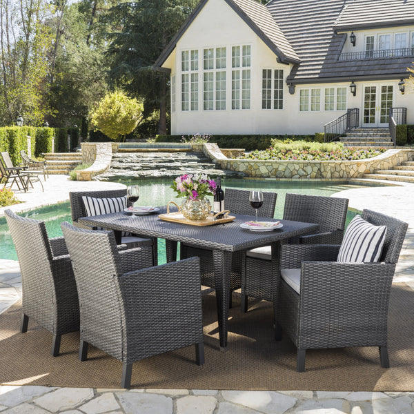 Outdoor 7 Piece Wicker Dining Set with Water Resistant Cushions - NH933203