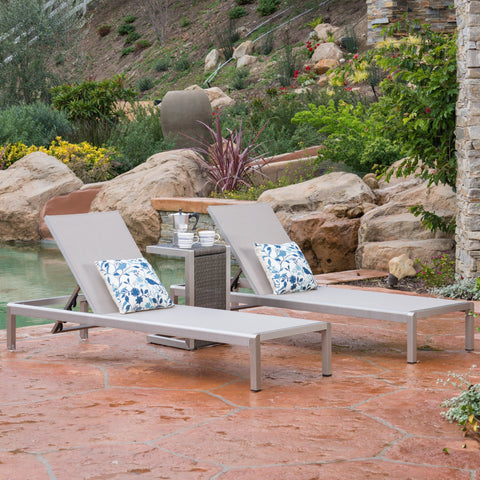 3pc Outdoor Chaise Lounge Chair & Table Set - NH100003