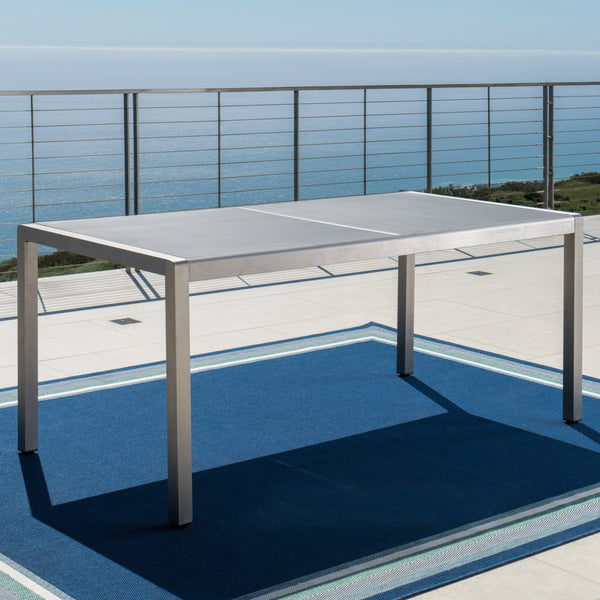Outdoor Grey Aluminum Dining Table with Tempered Glass Top - NH263003