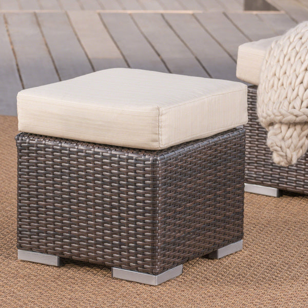 Outdoor 16 Inch Wicker Ottoman Seat with Water Resistant Cushion - NH124303