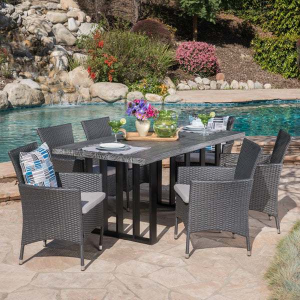 Outdoor 7 Piece Wicker Dining Set with Concrete Dining Table - NH290403