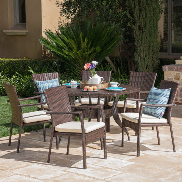 Outdoor 7 Piece Wicker Hexagon Dining Set with Brown Wicker Chairs - NH481403