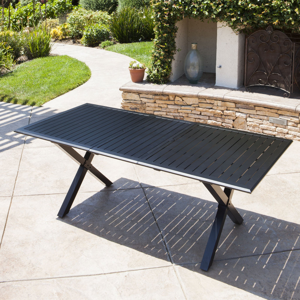 Black Cast Aluminum Expandable Outdoor Dining Table Nh270103 Noble House Furniture
