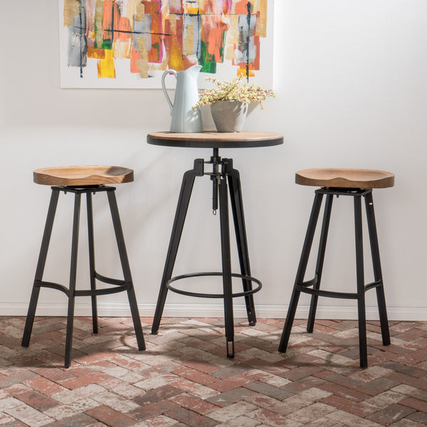 Industrial Adjustable Antique Finish Wood Bar Set with Swivel Stools - NH898892