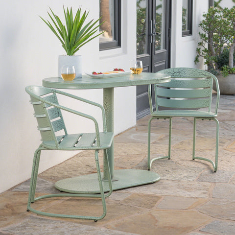Outdoor 3 Piece Crackle Finished Iron Bistro Set - NH953303