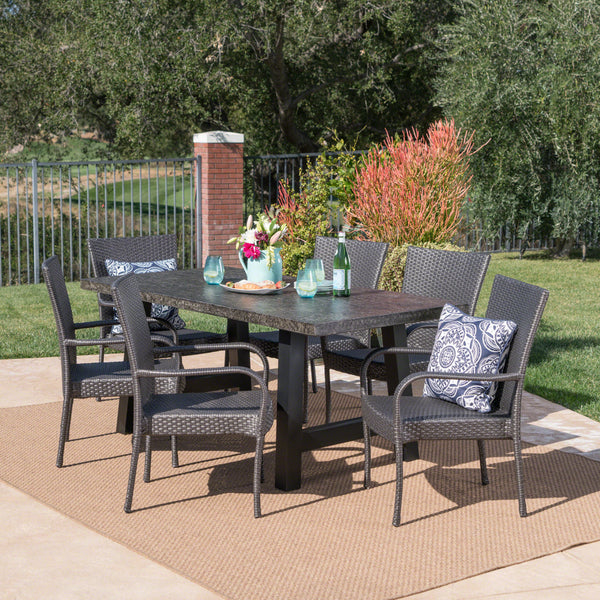 Outdoor 7 Piece Stacking Gray Wicker and Concrete Dining Set - NH339303