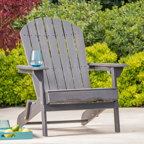 Dark Gray Acacia Wood Folding Adirondack Chair - NH526003