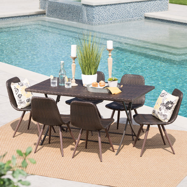 Outdoor 7 Piece Multi-brown Wicker Dining Set - NH369103