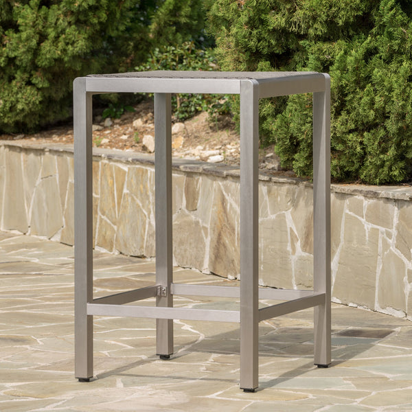 Outdoor Modern Gray Wicker Bar Table with Aluminum Frame - NH753003