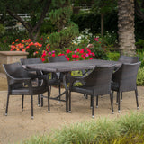 Outdoor 7 Piece Multi-brown Wicker Dining Set - NH555003