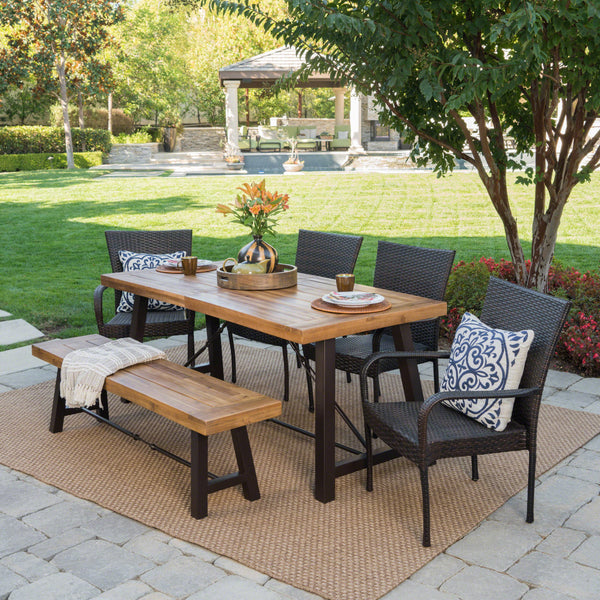 Outdoor 6 Piece Teak Finished Acacia Wood Dining Set with Multi-brown Chairs - NH165203