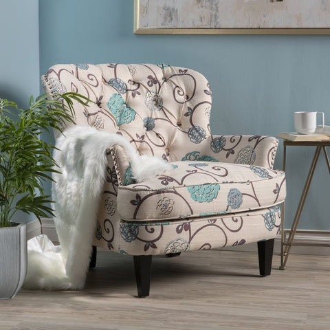 Button Tufted Fabric Club Chair - NH621992