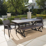 Outdoor 6 Piece Brown Aluminum Dining Set with Bench and Stacking Chairs - NH394203