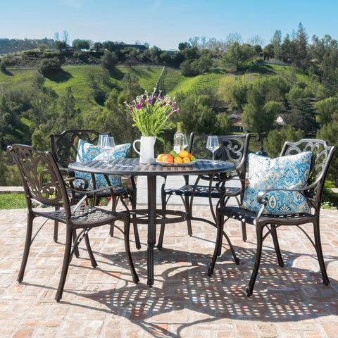 Outdoor 5 Piece Bronze Cast Aluminum Circular Dining Set - NH012003