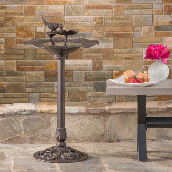 Outdoor Bronze Finished Aluminum Top Bird Bath with Iron Base - NH514303