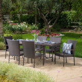 Outdoor 7 Piece Multibrown Wicker Dining Set - NH655003