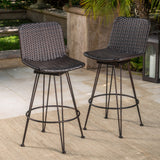 18-Inch Outdoor Wicker Barstools with Black Brush Copper Iron Frame (Set of 2) - NH837103