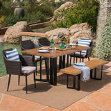 Outdoor 6 Piece Wicker Dining Set with Concrete Dining Table and Bench - NH311403