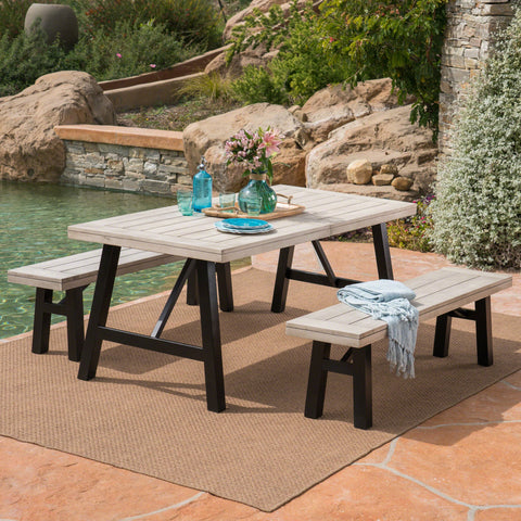 Outdoor 3 Piece Light Gray Finished Acacia Wood Picnic Set - NH767303