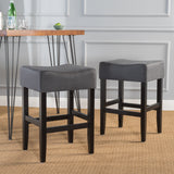 26-Inch Backless Dark Charcoal Fabric Counter Stools (Set of 2) - NH778003