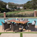 Outdoor 7 Piece Multi-brown Wicker Dining Set with Concrete Table - NH177303