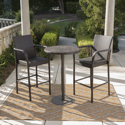 Outdoor 3 Piece Round Multi-brown Wicker Bar Set - NH444203