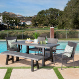 Outdoor 6 Piece Stacking Grey Wicker and Concrete Dining Set - NH008303